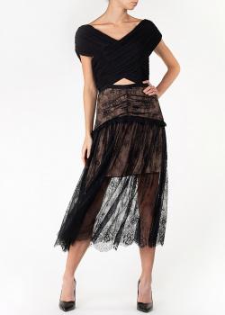 Черное платье Self-Portrait с кружевной юбкой, фото