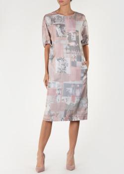 Розовое платье-миди Agnona из шелка, фото
