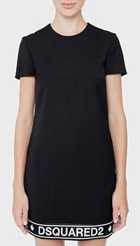 Черное платье Dsquared2 с принтом на подоле, фото