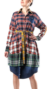 Платье-рубашка Dsquared2 с контрастным воротником, фото