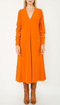 Оранжевое платье-миди Dsquared2 с длинными рукавами, фото