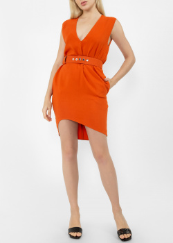 Оранжевое платье Dsquared2 с V-образным вырезом, фото