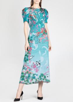 Шелковое платье Saloni с рисунком сакуры, фото