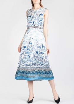 Шелковое платье Saloni с изображением животных, фото