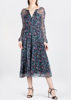 Шелковое платье Saloni с прозрачными рукавами, фото