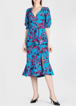 Шелковое платье Saloni голубого цвета, фото