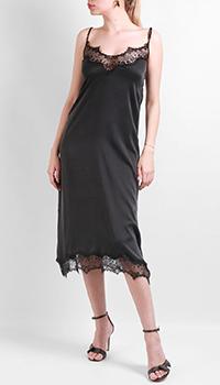 Черное шелковое платье Max&Moi на бретелях, фото
