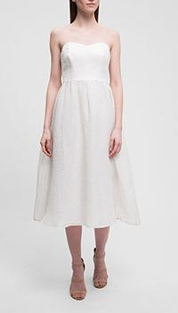 Белое платье P.A.R.O.S.H. без бретелей из шелка, фото