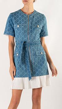 Джинсовое платье Sandro с вставкой-плиссе на подоле, фото