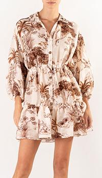 Льняное платье Sandro с флористическим принтом, фото