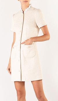 Бежевое платье Sandro с накладными карманами, фото
