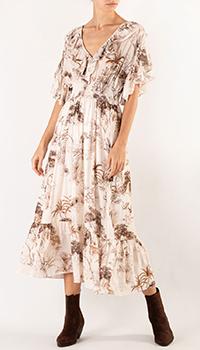 Бежевое платье Sandro с принтом и рюшами, фото