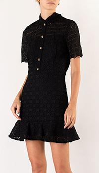 Кружевное платье Sandro черного цвета, фото