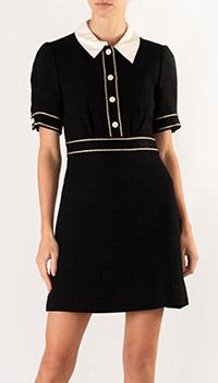 Черное платье Sandro с декоративной тесьмой, фото
