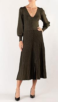 Платье черного цвета Sandro с V-образным вырезом, фото