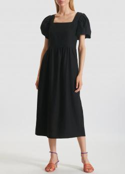 Льняное платье-миди Marchi Jane с короткими рукавами-фонариками, фото