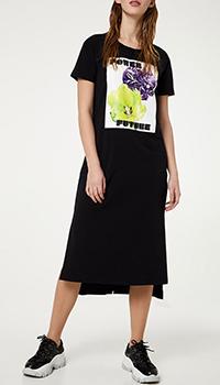 Ассиметричное платье-миди Liu Jo в черном цвете, фото