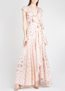 Розовое платье Temperley London с золотистым принтом, фото