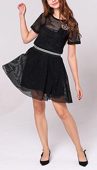 Черное платье Red Valentino с пышной юбкой до колен, фото