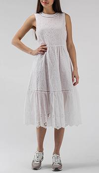 Батистовое платье миди Ermanno Scervino белого цвета, фото