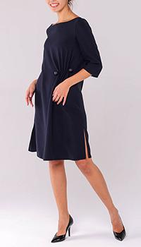 Синее платье Emporio Armani с разрезами по бокам, фото