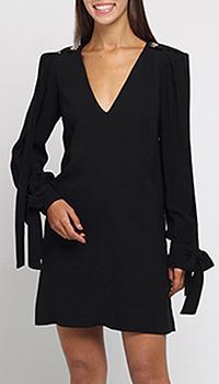 Платье с глубоким вырезом Elisabetta Franchi с завязками на рукавах, фото