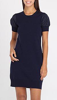 Шерстяное платье Love Moschino синего цвета с рукавом-фонариком, фото
