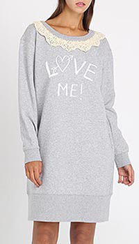 Платье-туника Love Moschino серого цвета с кружевом, фото