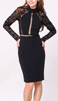 Черное платье Philipp Plein с кружевом, фото