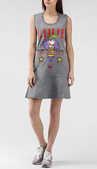 Серое платье-футболка Love Moschino без рукава, фото