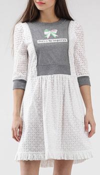 Белое платье-беби долл Love Moschino с серыми вставками, фото
