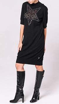 Черное платье Love Moschino с декором-звездой на груди, фото