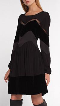 Черное платье Twin-Set с вставкой из бархата, фото