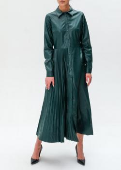 Платье из экокожи Twin-Set с асимметричной вставкой-плиссе, фото
