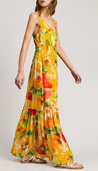Длинное платье Twin-Set с крупным цветочным принтом, фото