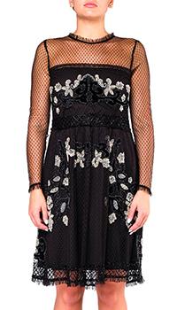 Черное коктейльное платье Twin-Set расшитое бисером, фото