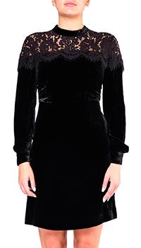 Платье Twin-Set велюровое с кружевом, фото