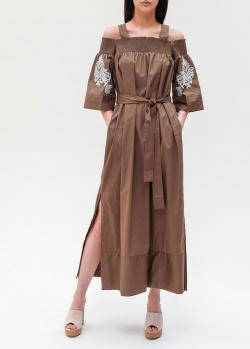 Платье цвета хаки Twin-Set с открытыми плечами, фото
