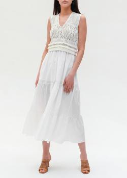 Белое платье Twin-Set с вязаным верхом, фото