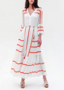 Длинное белое платье Twin-Set в полоску, фото