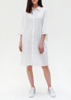 Белое платье-рубашка Twin-Set с широкими рукавами, фото