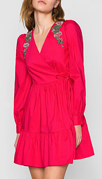 Розовое платье Twin-Set с запахом и цветочной вышивкой, фото