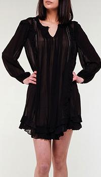 Короткое черное платье Twin-Set с пышными рукавами, фото