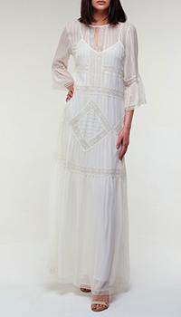 Длинное полупрозрачное платье Twin-Set белого цвета, фото