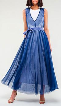 Двухслойное платье Twin-Set синего цвета, фото