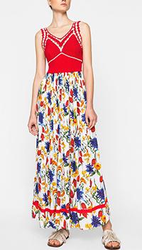 Платье Twin-Set с вязаным верхом и цветочным принтом, фото