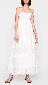 Длинное белое платье Twin-Set с кружевом, фото