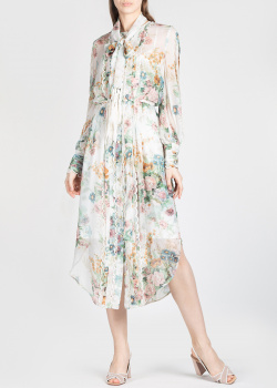 Шелковое платье Zimmermann с цветочным принтом, фото