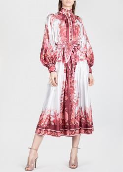 Шелковое платье-миди Zimmermann с пышными рукавами, фото