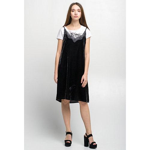 Бархатное платье на бретелях Tensione in черного цвета с кружевом, фото